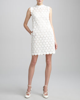 Valentino Rose Guipure Lace Shift Dress, Ivory