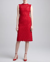 Valentino Rose Guipure Lace Sheath Dress, Rouge