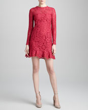 Valentino Ruffle-Hem Long-Sleeve Lace Dress, Cassis
