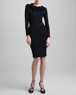 Valentino Tubino Pencil Skirt, Nero