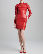 Valentino Lace-Yoke Leather Dress, Rosso