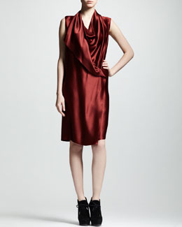 Lanvin Techno-Satin Wrap Dress