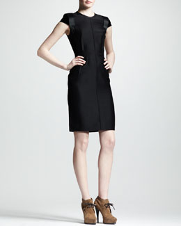 Lanvin Velvet-Sleeve Sheath Dress