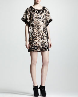 Lanvin Embellished Leopard-Print Shift Dress