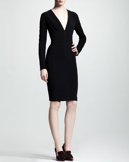 Lanvin Long-Sleeve V-Neck Dress
