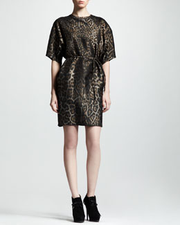 Lanvin Belted Leopard-Jacquard Shift Dress