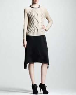 Lanvin Asymmetric Satin Skirt