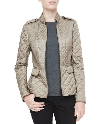 Quilted Zip Peplum Jacket