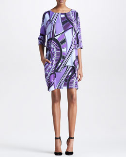 Emilio Pucci Half-Sleeve Printed Shift Dress
