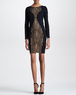 Emilio Pucci Lace-Center Long-Sleeve Dress, Black