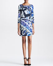 Emilio Pucci Square-Neck Printed Dress