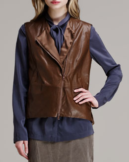 Brunello Cucinelli Leather Asymmetric-Zip Vest