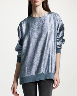 Stella McCartney Metallic Sweatshirt, Wedgewood