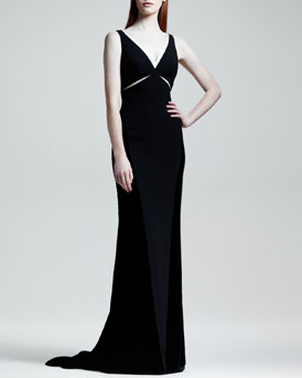 Stella McCartney Velvet Cutout Contrast-Trim Gown