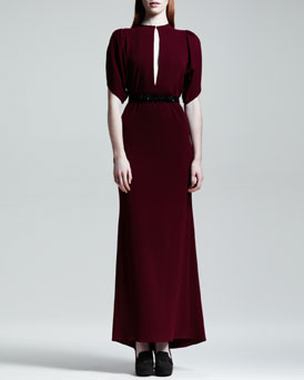 Stella McCartney Keyhole Flutter-Sleeve Long Dress