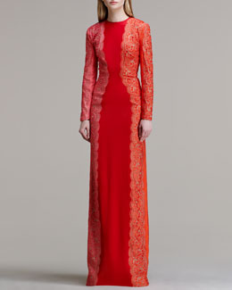 Stella McCartney Scallop-Panel Lace Long-Sleeve Gown, Vermillion Tricolor