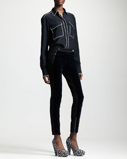 Stella McCartney Velvet-Panel Ankle-Zip Jeans