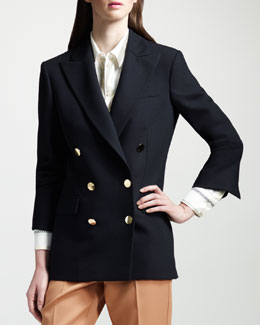 Stella McCartney Double-Breasted Golden-Button Blazer
