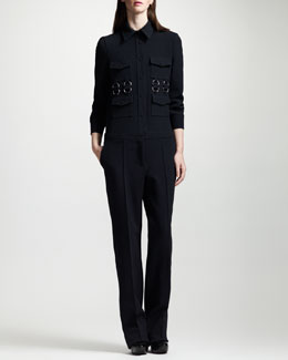 Stella McCartney Button-Front Stretch Wool Jumpsuit