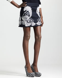 Stella McCartney Flower-Feather Embroidered Mini Skirt