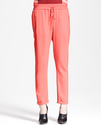 Zip-Pocket Drawstring Pants
