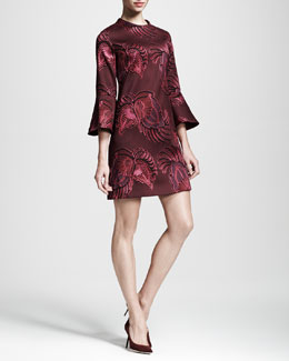 Stella McCartney Trumpet-Sleeve Flower Jacquard Dress