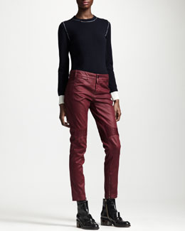 Stella McCartney Coated Knee-Patch Ankle-Zip Jean