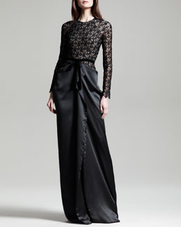 Roland Mouret Long-Sleeve Satin-Skirt Lace Gown