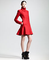 Alexander McQueen Crepe Wool Flounce-Hem Dress Coat