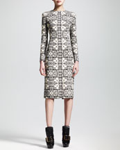 Alexander McQueen Long-Sleeve Stained Glass Sheath Dress