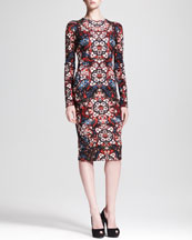 Alexander McQueen Long-Sleeve Stained Glass Jersey Dress