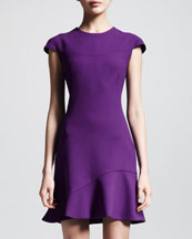 Alexander McQueen Wool Crepe Flounce-Hem Dress
