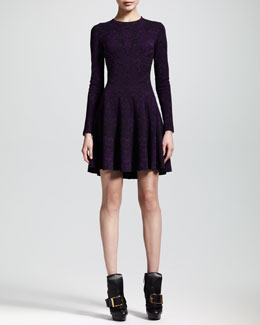 Alexander McQueen Lace Jacquard Long-Sleeve Circle Dress
