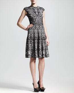 Alexander McQueen Lace Jacquard Short-Sleeve Circle Dress