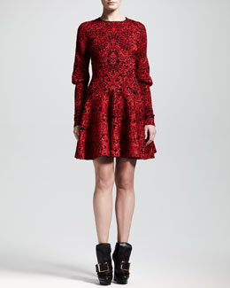 Alexander McQueen Puckered Jacquard Mutton-Sleeve Dress