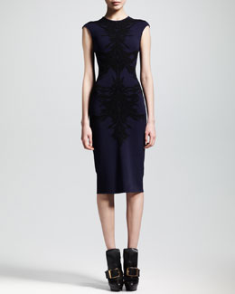 Alexander McQueen Spine Intarsia-Knit Flounce Dress, Navy/Black