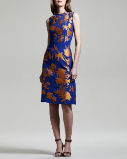 Jonathan Saunders Linford Floral Crepe-Satin Sheath Dress