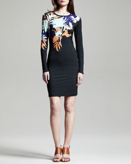 Jonathan Saunders Fitted Floral-Print Jersey Dress