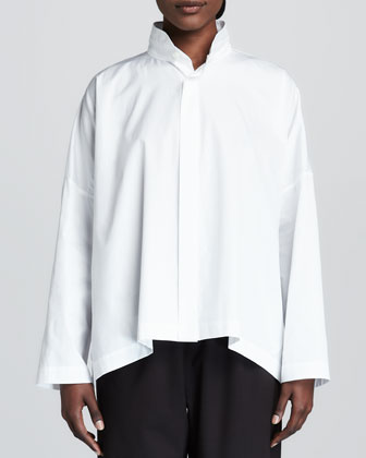 Double-Collar Cotton Poplin Blouse, White