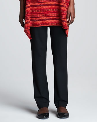 Collarless Extra Long Tunic & Narrow Stretch Wool Trousers