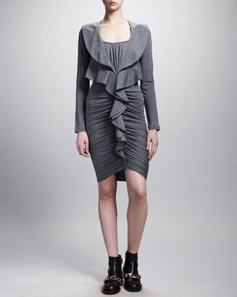 Ruffle-Front Ruched Jersey Dress