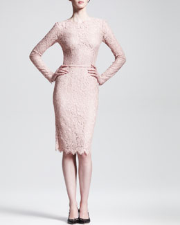 Dolce & Gabbana Long-Sleeve Belted Lace Dress
