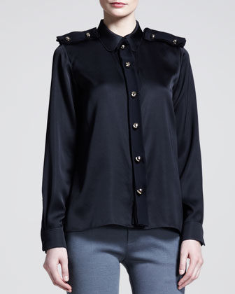 Golden-Button Epaulet Blouse