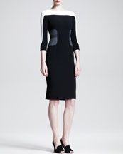 Aquilano.Rimondi Tri-Tone Colorblock 3/4-Sleeve Dress