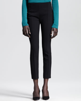 Stretch-Scuba Cropped Skinny Pants
