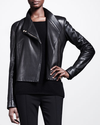 Knit-Panel Leather Moto Jacket