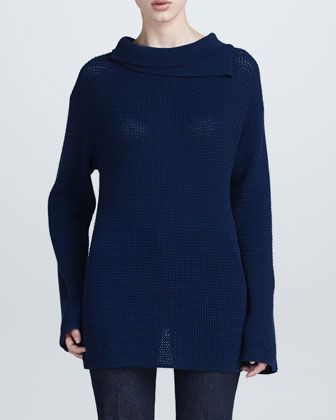 Double-Collar Tunic-Length Sweater