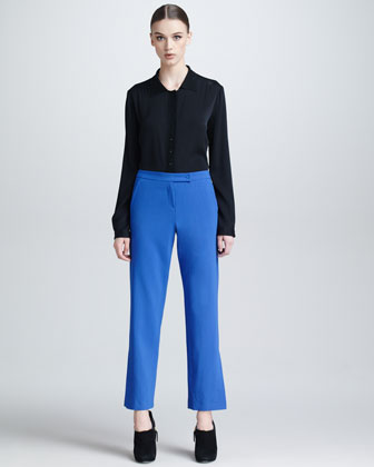 Lightweight Wool Slit-Ankle Pants