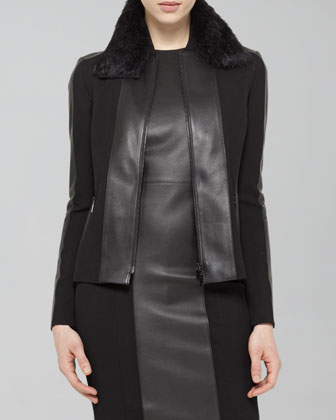 Faux-Leather-Trim Blouson Jacket & Faux-Leather-Trim Wool Dress