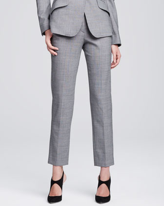 Classic Check Slim-Leg Trousers, Gray